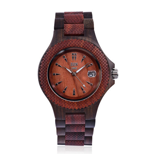 EON 1962 Sandalwood Watch with Reddish Brown and Chocolate Colour Strap with Date Movement