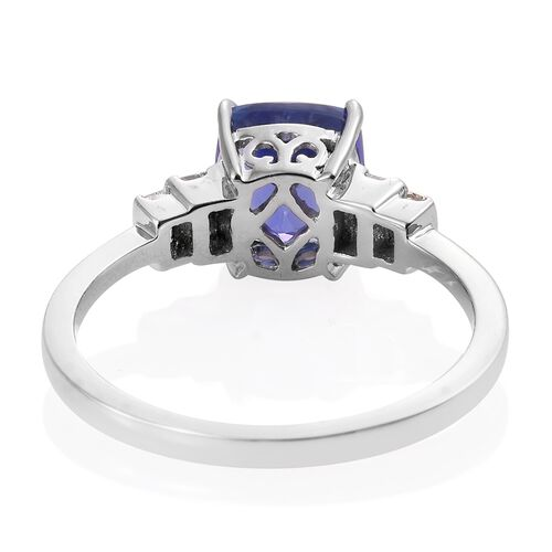ILIANA 18K White Gold AAA Tanzanite (Cush 2.85 Ct), Diamond (SI/G-H) Ring 3.150 Ct.