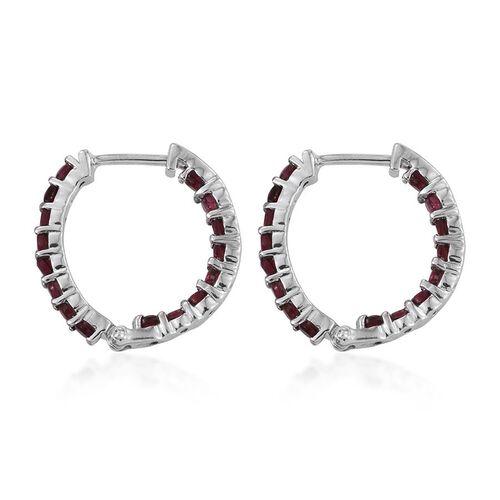 Mahenge Spinel (Rnd) Hoop Earrings in Platinum Overlay Sterling Silver 1.500 Ct.