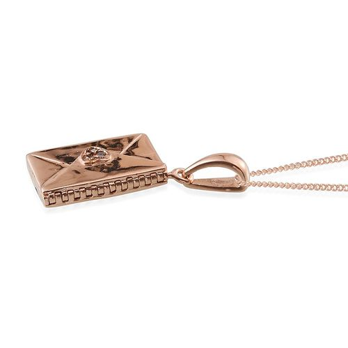 Natural Champagne Diamond (Rnd) Envelope Pendant With Chain in ION Plated 18K Rose Gold Bond