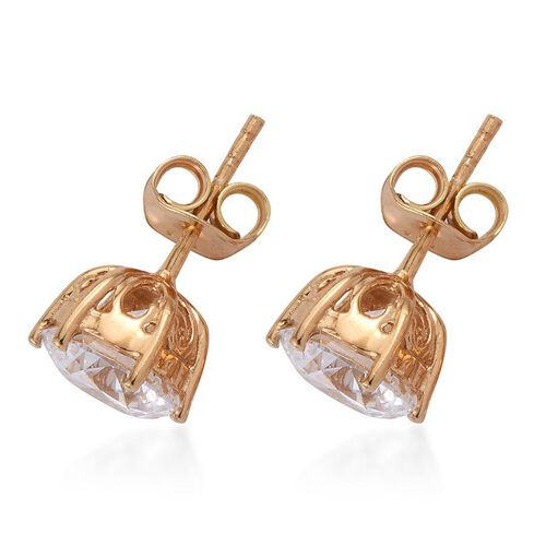 J Francis - 14K Gold Overlay Sterling Silver (Rnd) Stud Earrings Made with SWAROVSKI ZIRCONIA