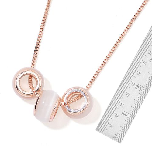 Simulated White Cats Eye Pendant With Chain (Size 28 with 2 inch Extender) in Rose Gold Tone