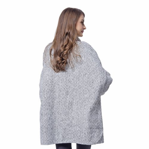 Grey, White and Black Colour Knitted Cape (Free Size)