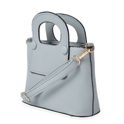 Grey Colour Tote Bag with Adjustable and Removable Shoulder Strap (Size 20.5x15x9 Cm)