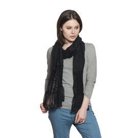 New For Season - 100% Micro - Cotton Slub Lace Trim Black Colour Scarf (Size 200x40 Cm)