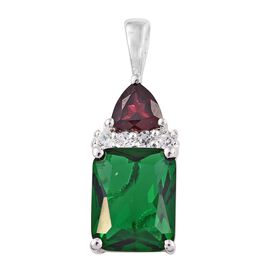AAA Simulated Emerald (Oct), Rhodolite Garnet and Natural Cambodian Zircon Pendant in Sterling Silver