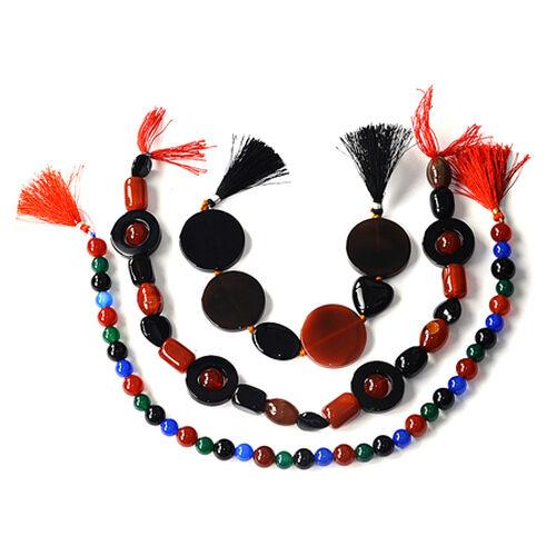 Multi Onyx & Agate Enhanced Gemstone Chain (Beads) 1120.000  Ct.