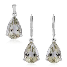 Green Amethyst (Pear) Solitaire Pendant and Lever Back Earrings in Rhodium Plated Sterling Silver 10.200 Ct.