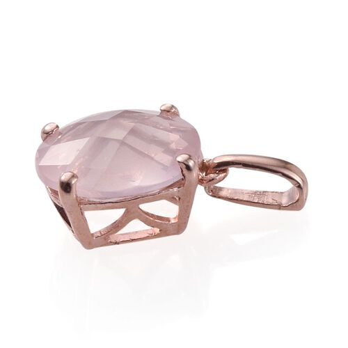 Checkerboard Cut Rose Quartz (Ovl) Solitaire Pendant in Rose Gold Overlay Sterling Silver 3.000 Ct.