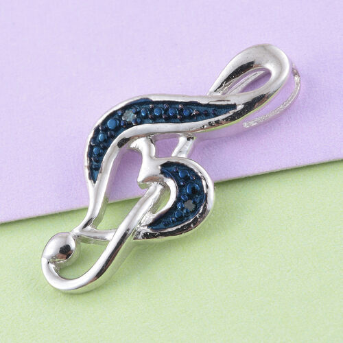 Treble Clef Blue Diamond (Rnd) Pendant in Platinum Overlay Sterling Silver