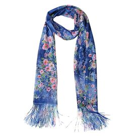 Italian Designer Inspired - Blue, Pink, and Multi Colour Flower Pattern Scarf with Tassels (Size 160x68 Cm)