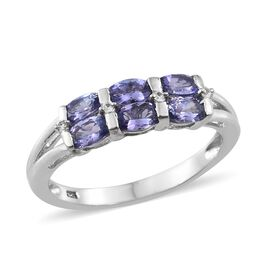 Tanzanite (Ovl), Natural Cambodian Zircon Ring in Platinum Overlay Sterling Silver 1.250 Ct.