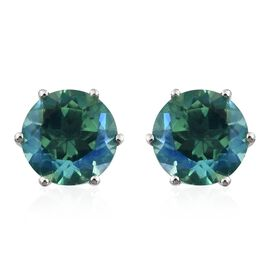 Peacock Quartz (Rnd) Stud Earrings (with Push Back) in Platinum Overlay Sterling Silver 4.000 Ct.
