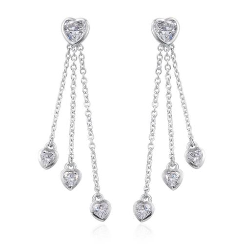 J Francis - Platinum Overlay Sterling Silver (Hrt) Dangle Earrings (with Push Back) Made with SWAROVSKI ZIRCONIA