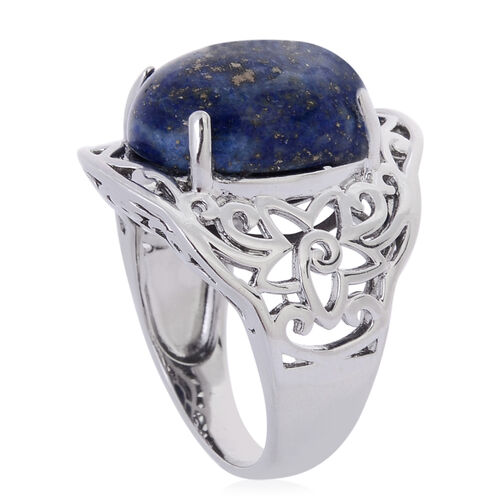 Lapis Lazuli (Ovl) Solitaire Ring in ION Plated Silver Bond 11.200 Ct.