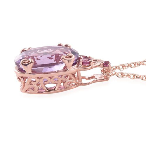 Rose De France Amethyst (Ovl 5.55 Ct), Rhodolite Garnet Pendant With Chain in Rose Gold Overlay Sterling Silver 5.750 Ct.