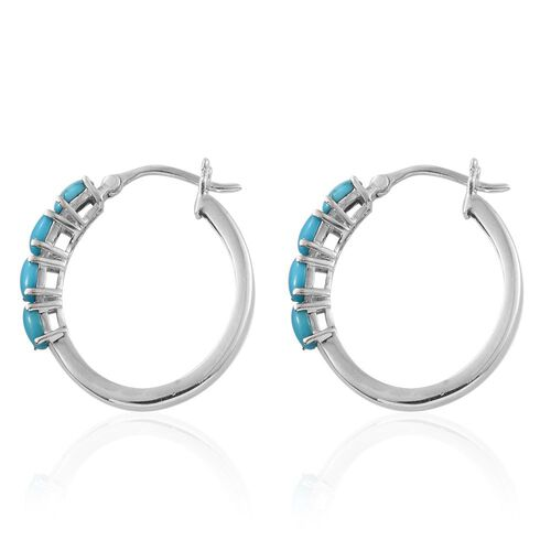 Arizona Sleeping Beauty Turquoise (Ovl) Hoop Earrings in Platinum Overlay Sterling Silver 1.500 Ct.