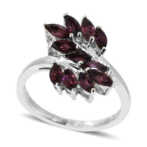 Rhodolite Garnet (Mrq) Crossover Ring in Sterling Silver 2.000 Ct.