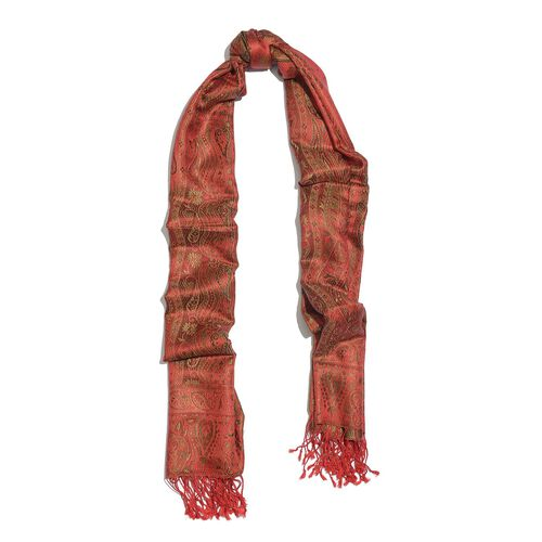 SILK MARK - 100% Superfine Silk Burgundy and Multi Colour Jacquard Jamawar Scarf with Fringes (Size 180x70 Cm)