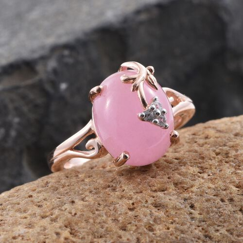 Pink Jade (Ovl), Natural Cambodian Zircon Ring in Rose Gold Overlay Sterling Silver 6.000 Ct.