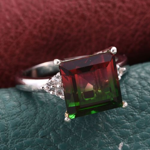 Bi-Color Tourmaline Quartz (Sqr 7.50 Ct), White Topaz Ring in Platinum Overlay Sterling Silver 7.750 Ct.