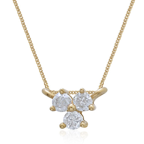9K Yellow Gold 0.10 Ct Diamond Trilogy Necklace (Size 18) I3 G-H, SGL Certified