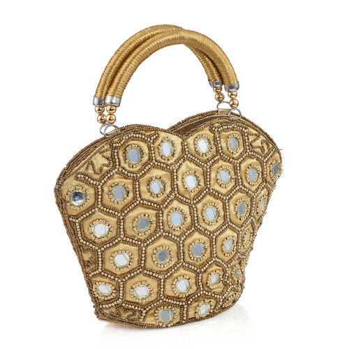 Super Auction - Limited Edition, Hand Made, Hand Set - Golden Colour Beads Embellished Golden Handbag (Size 22X18X7 Cm)