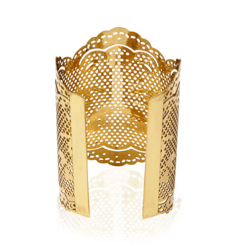 Jewels of India Handicraft Vintage Lace Cuff in Gold Tone