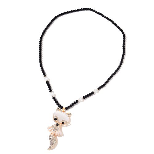 Simulated White Cats Eye, Simulated Black Spinel, White and Black Austrian Crystal Cat Necklace (Size 28) in Yellow Gold Tone