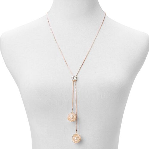 Simulated White Diamond and Simulated White Stone Necklace (Size 22 with 2 inch Extender) in Rose Gold Tone