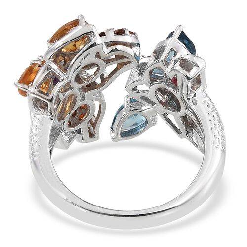 GP Citrine (Pear), London Blue Topaz, Lusaka Amethyst, Mahenge Pink Spinel, Mozambique Garnet and Kanchanaburi Blue Sapphire Ring in Platinum Overlay Sterling Silver 3.750 Ct.