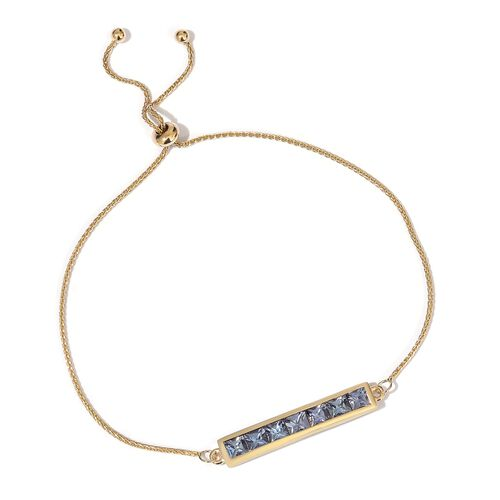 2.25 Ct AA Tanzanite Bracelet in 9K Gold 6.5 to 8.5 Inch Adjustable