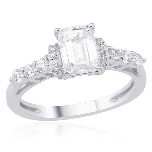 J Francis - Platinum Overlay Sterling Silver (Oct) Ring Made with SWAROVSKI ZIRCONIA