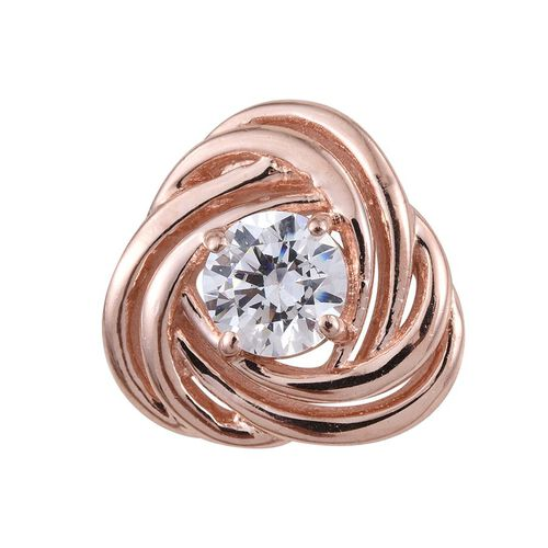 J Francis - Rose Gold Overlay Sterling Silver (Rnd) Knot Pendant Made with SWAROVSKI ZIRCONIA