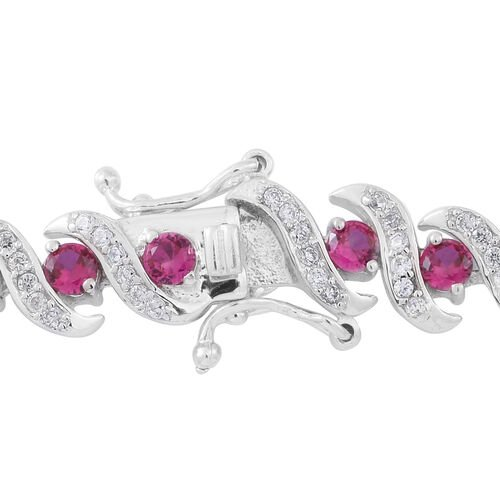 Limited Edtition-ELANZA AAA Simulated Pink Sapphire (Rnd), Simulated White Diamond Bracelet (Size 7.5) in Rhodium Plated Sterling Silver.Silver Wt 20.00 Gms