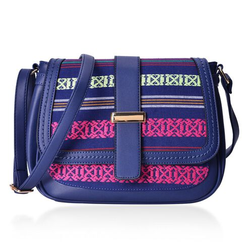 Navy and Multi Colour Stripe Pattern Crossbody Bag with External Zipper Pocket and Adjustable Shoulder Strap (Size 26x20.5x9 Cm)