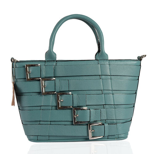 Genuine Leather RFID Blocker Teal Colour Buckle Design Handbag (Size 36X28X21.5X12 Cm)