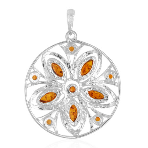 Multi Colour Baltic Amber (Mrq) Floral Pendant in Sterling Silver