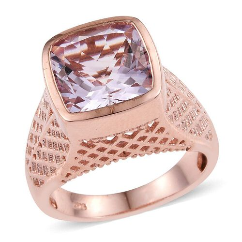 Rose De France Amethyst (Cush) Solitaire Ring in Rose Gold Overlay Sterling Silver 5.000 Ct.