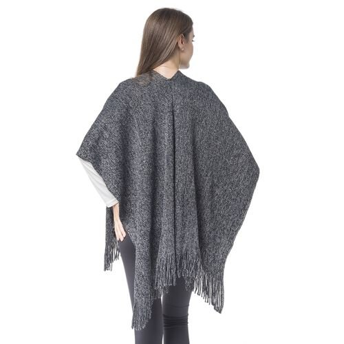 Italian Designer Inspired-Black and Silver Colour Kimono with Fringes (Size 90x65 Cm)