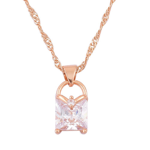 AAA Simulated Diamond Lock Design Pendant With Chain (Size 18 with 1.5 inch Extender) and Hook Earrings in Yellow Gold Tone
