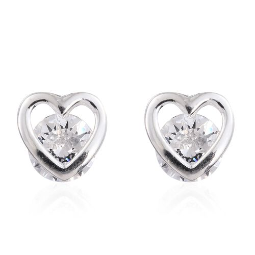 J Francis - Sterling Silver (Rnd) Heart Stud Earrings (with Push Back) Made with SWAROVSKI ZIRCONIA