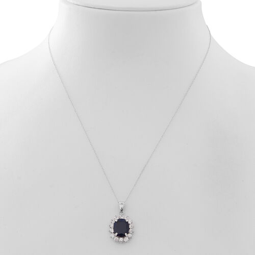 Rare Size Madagascar Blue Sapphire (Ovl 12x10 mm), Natural White Cambodian Zircon Pendant with Chain in Rhodium Plated Sterling Silver 7.500 Ct