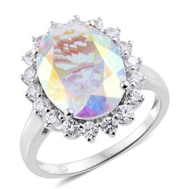 Limited Edition - Rare Size AAA Mercury Mystic Topaz (Ovl 8.20 Ct), Natural Cambodian White Zircon Ring in Platinum Overlay Sterling Silver 9.750 Ct.
