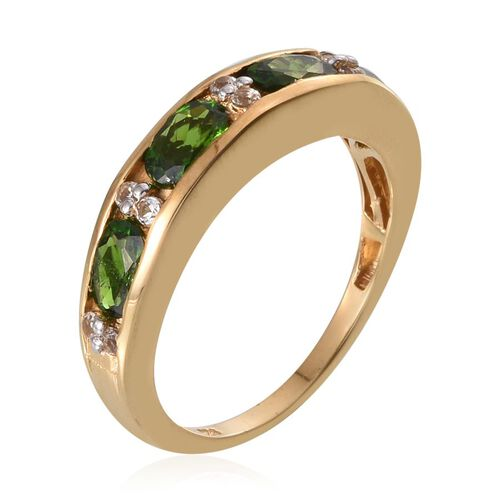 Russian Diopside (Ovl), White Topaz Half Eternity Band Ring in 14K Gold Overlay Sterling Silver 2.000 Ct.