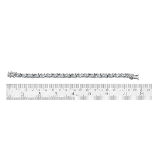 Espirito Santo Aquamarine (Ovl) Bracelet in Platinum Overlay Sterling Silver (Size 7) 13.000 Ct.