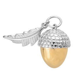 Acorn and Oak Leaf Pendant in Platinum and Yellow Gold Overlay Sterling Silver, Silver wt.4.60 Gms