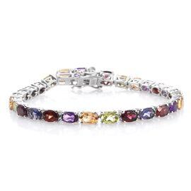 Mozambique Garnet (Ovl), Rhodolite Garnet, Hebei Peridot, Amethyst, Citrine and Iolite Bracelet (Size 7) in Platinum Overlay Sterling Silver 12.300 Ct.