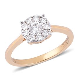 ILIANA 18K Yellow Gold 0.50 Carat Diamond Cluster Ring IGI Certified (SI/G-H)