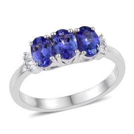 ILIANA 18K White Gold 1.50 Carat AAA Tanzanite Oval Trilogy Ring with Diamond SI G-H.